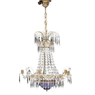 Antique 1900's Swedish Crystal Chandelier For Sale