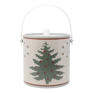 Vintage Needlepoint Design Christmas Tree and Wreath Holiday Ice Bucket For Sale
