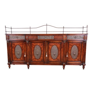 Theodore Alexander Regency Style Flame Mahogany Sideboard or Bar Cabinet For Sale