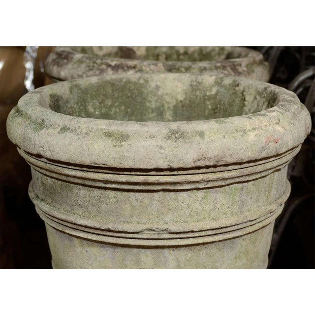 French 19th Century French Stone Urns on Pedestals - a Pair For Sale - Image 3 of 6