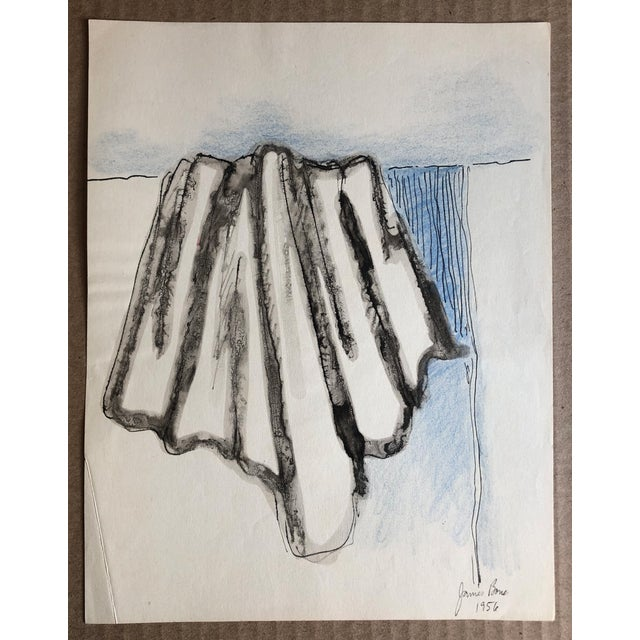 1956 Imagined Drapery Watercolor Study by James Bone For Sale - Image 4 of 4