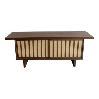 Petite Walnut and Cane Low Profile Sideboard For Sale