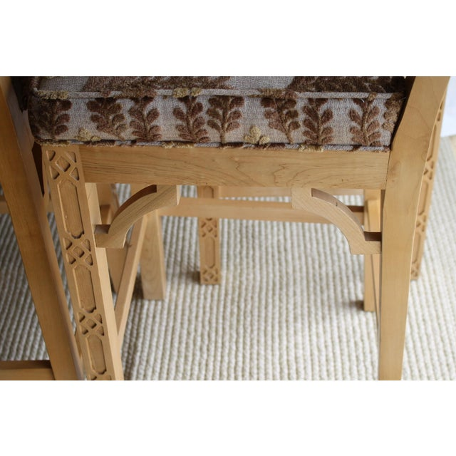 Late 20th Century Late 20th Century Chinese Chippendale Chinoiserie Fretwork Bar Stool For Sale - Image 5 of 13