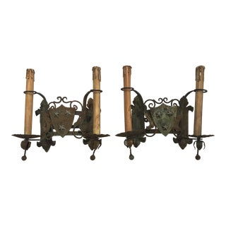 French Un-electrified Iron Sconces - A Pair