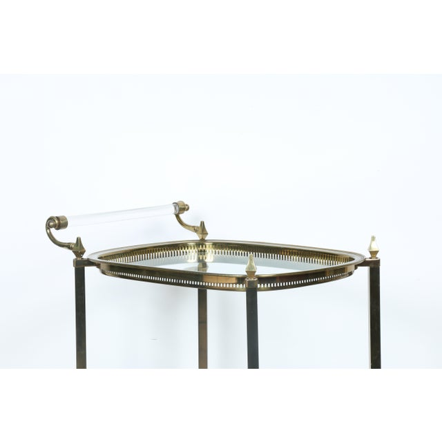 Mid-Century Gold-Tone Bar Cart - Image 8 of 11
