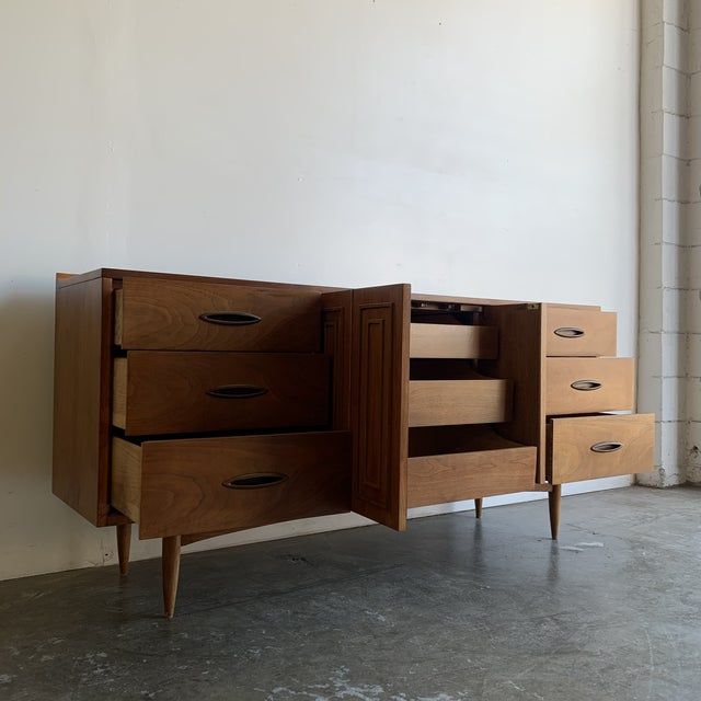 Brown Mid Century Broyhill Sculptra Triple Dresser For Sale - Image 8 of 13