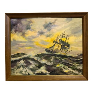 Vintage Nautical Ship Oil Painting For Sale