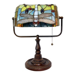 Art Deco Stained Glass Dragonfly Desk Lamp