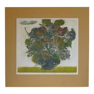 """Flowers From Madeline"" a Mid Century Lithograph by Ruth Kerkovius"
