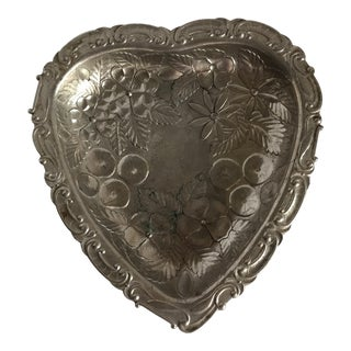 Vintage Pewter Metal Floral Etched Heart Tray For Sale