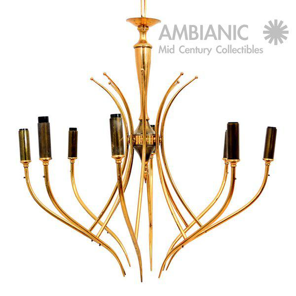 One of a kind Italian chandelier. Attributed to Guglielmo Ulrich. Chandelier is unmarked. Very delicate and refine...