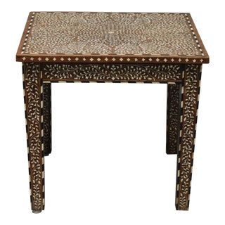 Wood and Bone Inlay Table For Sale