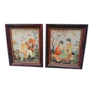 A Pair of Vintage Japanese Hand Tinted Framed Pagoda Asian Art Wall Prints Apco Chicago For Sale