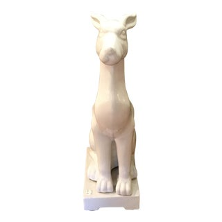 White Ceramic Dog Statue