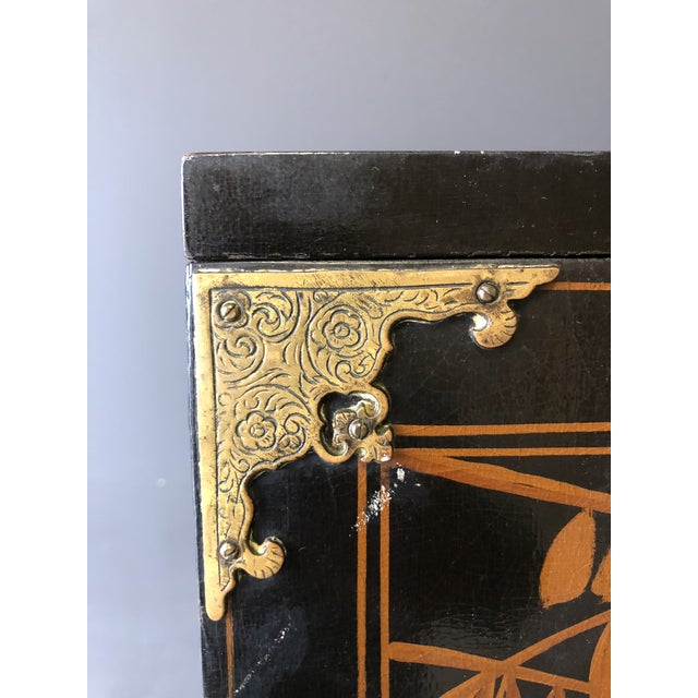 Brass 1920s Antique Black Lacquer Chinese Cabinet For Sale - Image 7 of 11
