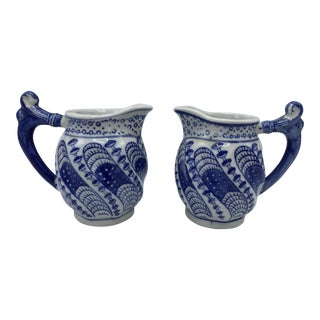Blue and White Miniature Pitchers, Pair For Sale