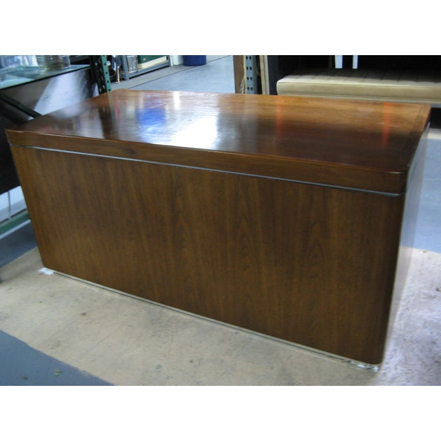 Metal Art Deco Walnut Desk For Sale - Image 7 of 9