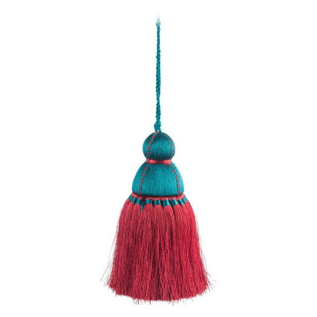 Pyar & Co. Trellis Home Tassel, Burgundy & Teal, Small For Sale - Image 4 of 4
