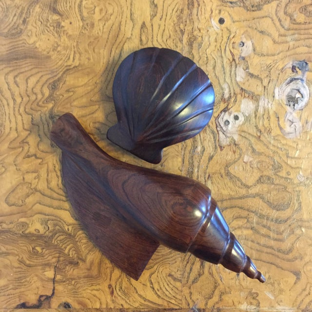 Pair of Dark Carved Wood Shells For Sale - Image 4 of 5