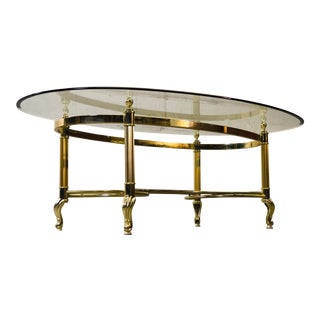 Vintage 1960s LaBarge Scroll Brass & Glass Top Coffee Table For Sale
