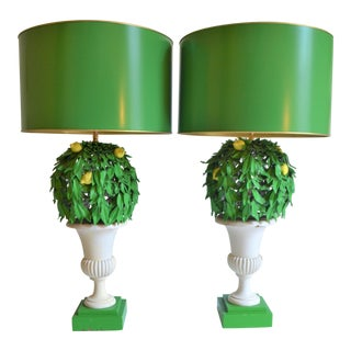 1970s Italian Lemon Tree Tole Topiary Lamps, a Pair For Sale
