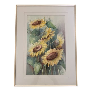Vintage Sunflower Watercolor Painting For Sale