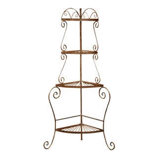 Four-Tier Patinated Iron Corner Shelf on Curved Feet For Sale