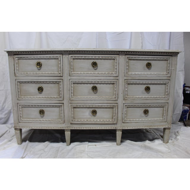 20th Century Nine Door Taupe Oak Gustavian Dresser For Sale - Image 4 of 8