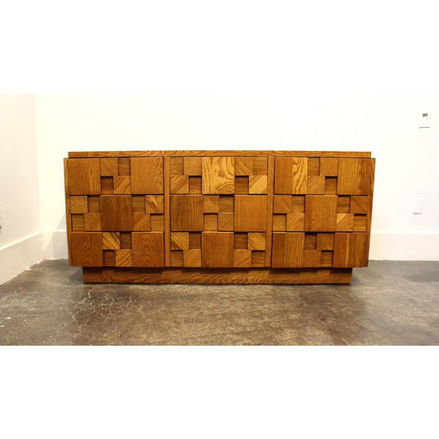 Classic Brutalist design by Lane Furniture. Heavy wood mosaic across entire front. Has 3 stacks of 3 drawers for a total...
