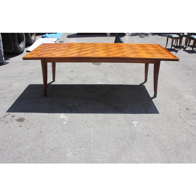 Master Piece French Art Deco Dining Table Cherry Wood By Leon Jallot 1930s For Sale - Image 10 of 13