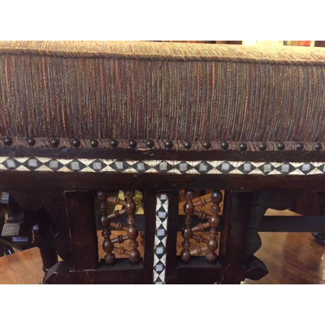 Vintage Moroccan Inlaid Bone Handled Bench For Sale In Los Angeles - Image 6 of 11