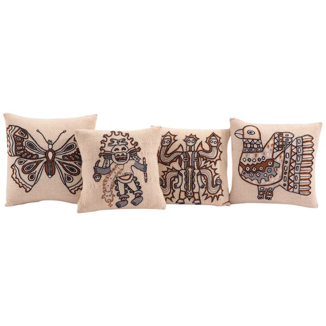 Embroidered Peruvian Pillows - Set of 4 For Sale