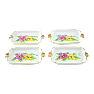 Japanese Floral Gilt Ashtrays - Set of 4