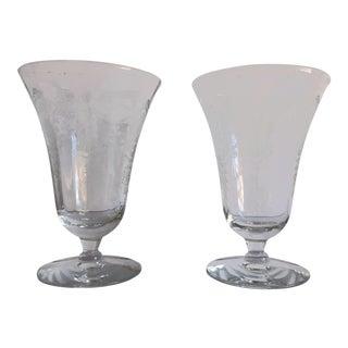 Vintage Floral Etched Fostoria Navarre Clear Crystal Juice Glasses S/2 For Sale
