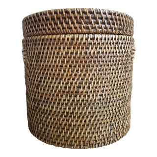 Rattan Lidded Round Storage Basket For Sale