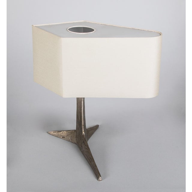 Abstract 1970s Brutalist Felix Agostini Clawfoot Nickeled Bronze Lamp For Sale - Image 3 of 5