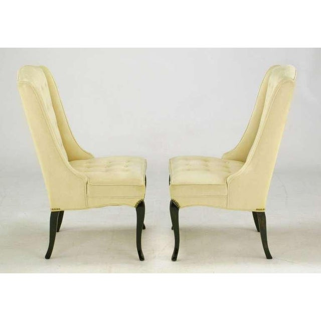 Pair 1940s Creamy Velvet Button-Tufted Slipper Chairs For Sale - Image 4 of 10