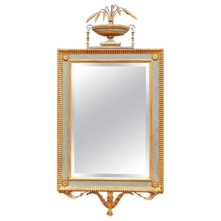 Vintage Mid-Century Italian Parcel Gilt and Painted Neoclassical Console Mirror For Sale
