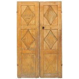 Image of 19th Century Swedish Wood Doors With Diamond Motif Panels-a Pair For Sale