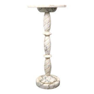 Vintage Marble Pedestal With Round Base For Sale