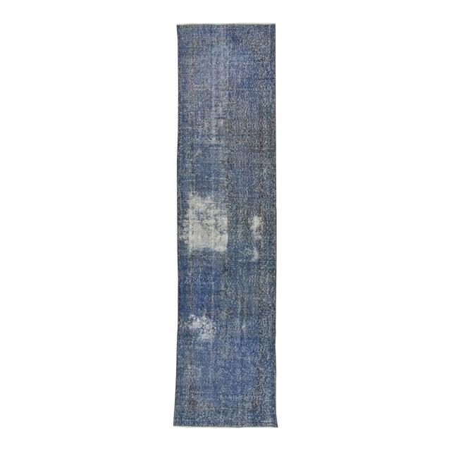 Vintage Turkish Blue Overdyed Runner Rug - 2′11″ × 12′ For Sale