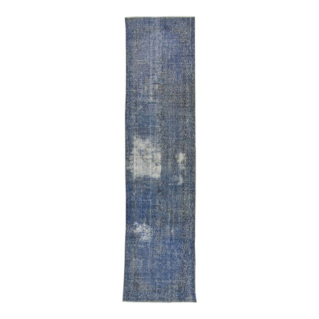 Vintage Turkish Blue Overdyed Runner Rug - 2′11″ × 12′ - Image 1 of 6
