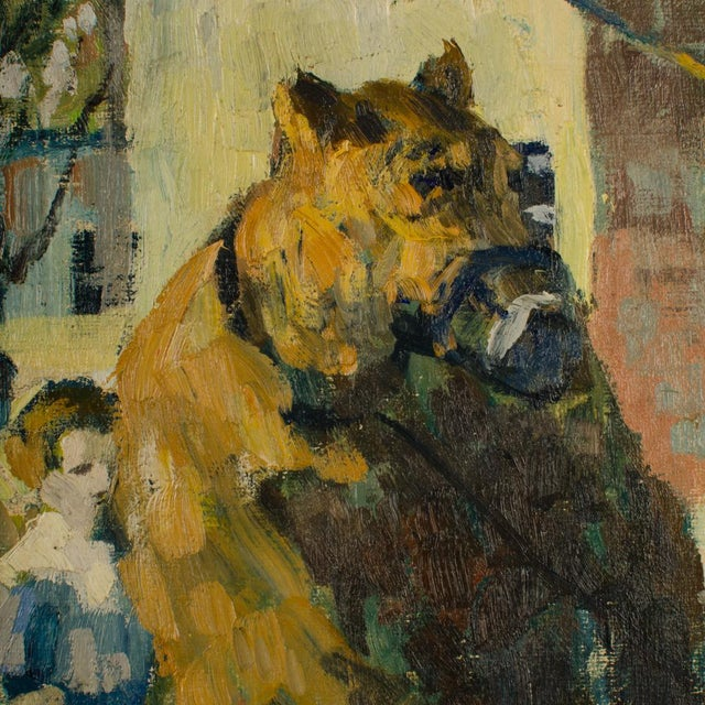 """1920s """"Performing Bear"""" Rustic European Village Scene Oil Painting by Richard Bloos For Sale - Image 9 of 11"""
