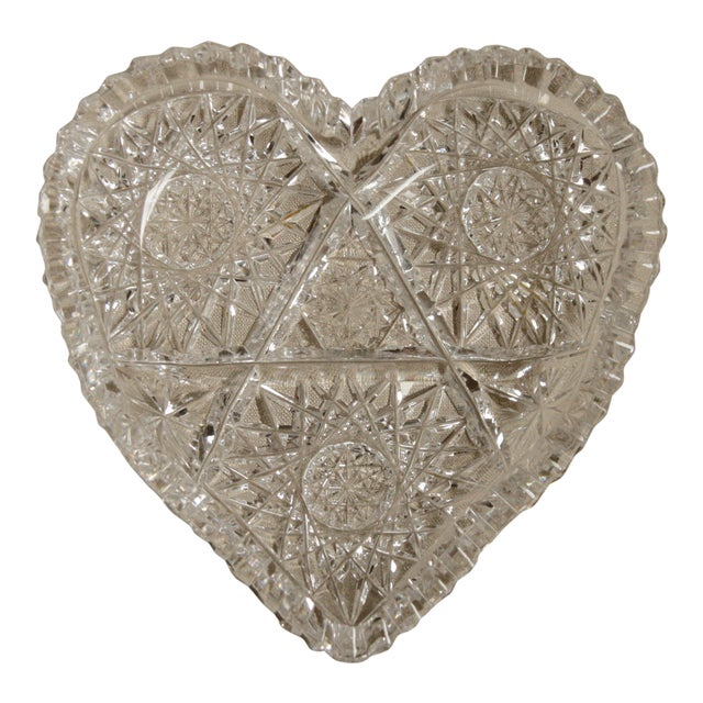 Vintage Heart-Shaped Lead Crystal Ashtray/Trinket Tray For Sale