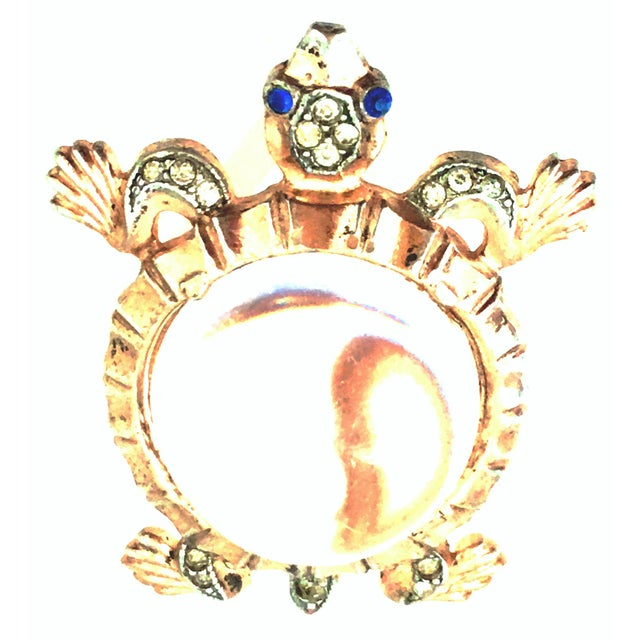 1940'S Iconic & Coveted Sterling Silver, Gold Vermeil, Lucite & Austrian Crystal Turtle Jelly Belly Brooch By, Alfred...