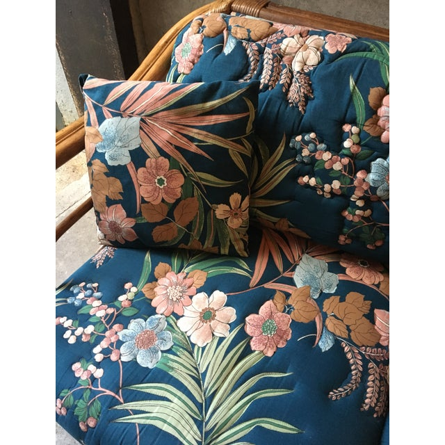 Vintage Rattan & Tropical Print Fabric Upholstered Loveseat - Image 4 of 5
