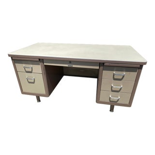 Vintage Mid Century McDowell and Craig Metal Tanker Desk For Sale