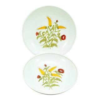 Italian Hand Painted Pottery Harvest Large Spaghetti Bowls by Pippo Cetona - a Pair For Sale