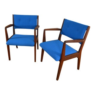 Electric Blue Jens Risom Walnut Arm Chairs - A Pair