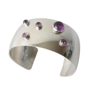 Niels Erik From Amethyst Sterling Silver Danish Modernist Cuff Bracelet For Sale